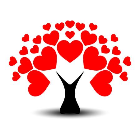 Amore o albero di San Valentino con foglie di cuore e tronco nero. Vettoriali