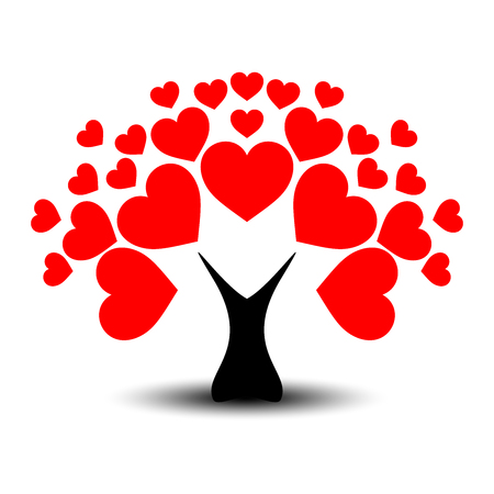 Love or Valentine's tree with heart leaves and black trunk.