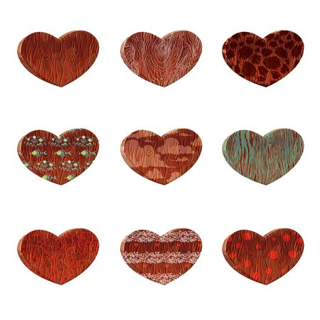 Set vector cartoon wood heart.Design elements for Valentines day.