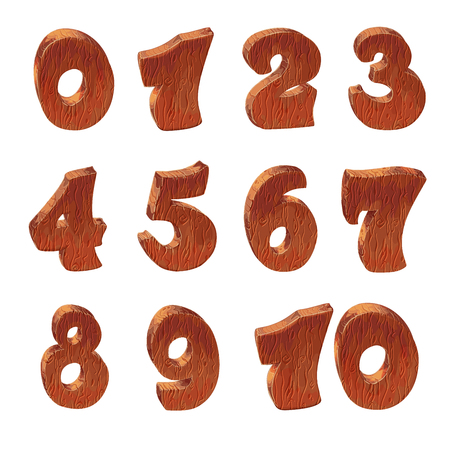 uppercase: Wooden alphabet blocks cartoon style with numbers, vector set with all numbers. Isolated over white.