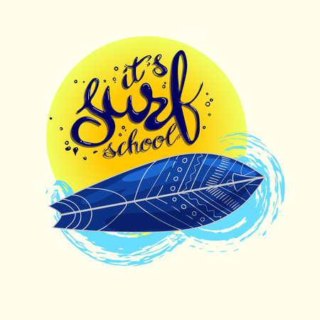 about: surf school t-shirt print vector concept. surf board with hand drawn letters about surf school