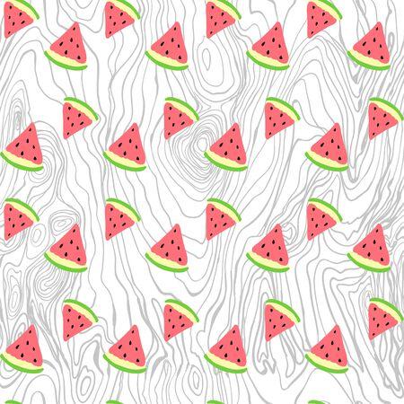 seamless pattern. Hand painted handmade. painted handmade watermelon and wood