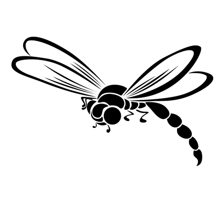 Black dragonfly stylized silhouette on white background, isolate copy raster. Imagens