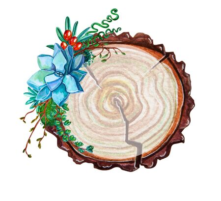 rings on a tree cut: floral circle chalkboard banner, succulent watercolor botanical illustration, wooden slice Wedding day Valentines day card, festive clip art frames, invitations, lettering, wedding, greeting cards and more. isolated on white background. Stock Photo