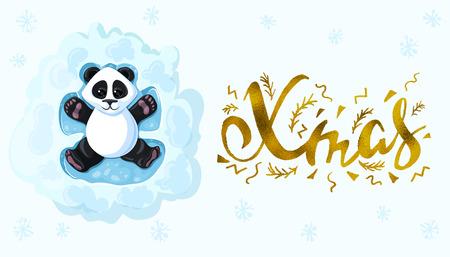 Xmas Handwritten elegant modern brushes inscription gold Panda is lying in the snow playing snow angels. Design element for banner, card, invitation, postcard, template, vignette etc. Vector illustration.