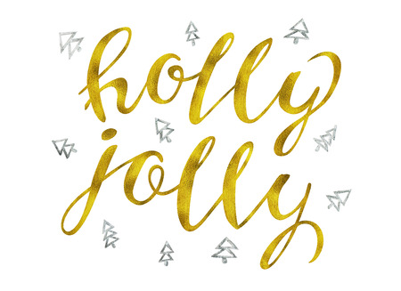 Holly jolly Gold and silver glittering elegant modern brush lettering design on a wight background rastr illustration. Lettering for your designs: posters, invitations, cards, etc. Stock Photo