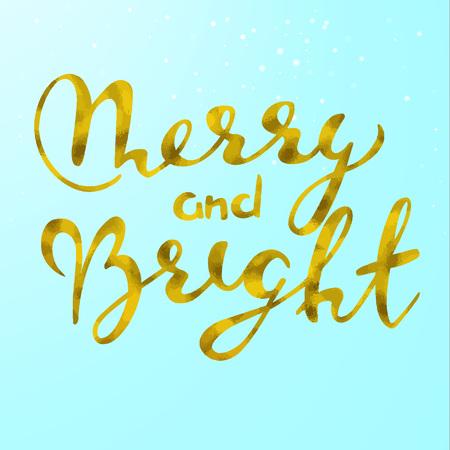 Merry and Bright gold glittering elegant modern brush lettering design.