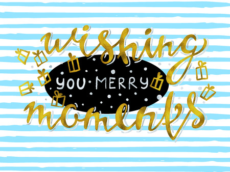 Merry Christmas greeting card with calligraphy Hohoho and golden glitters.