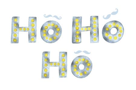 Ho Ho Ho gold and silver glittering elegant modern brush lettering and mustache design.