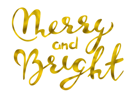 Merry and bright Gold glittering elegant modern brush lettering design on a wight background rastr illustration. Lettering for your designs: posters, invitations, cards, etc. Stock Photo