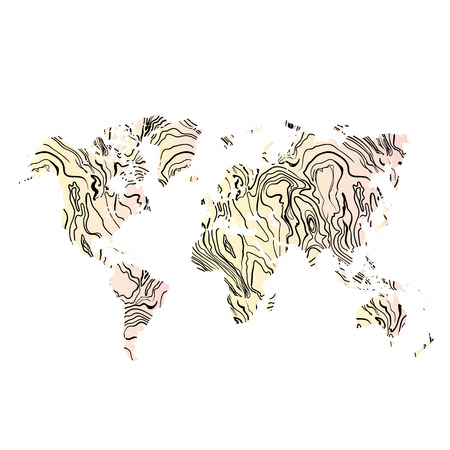 World map hand drawn textured in wood  illustration. Ilustrace