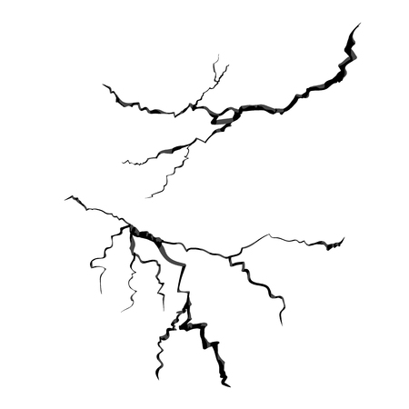 Crack black on white background. Vector isolated realistic.