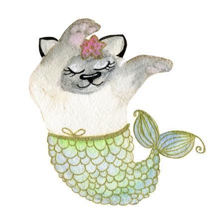 cute siamese cat mermaid animal watercolor illustration
