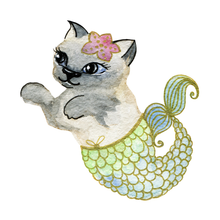 cute siamese cat mermaid animal watercolor illustration