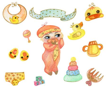 Baby Shower Clip Art Newborn Design Elements Watercolor Illustration