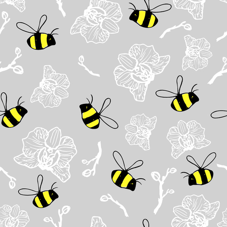 Seamless pattern beautiful bumblebees and orchids on the gray background.