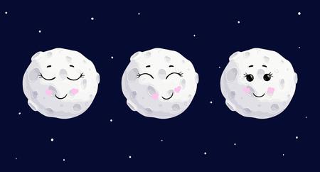 Cute cartoon full moon different emotions character set, vector. Vector Illustration