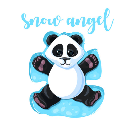 Cute panda with lettering snow angel. Vector illustration for greeting card, poster, or print on clothes. Christmas and New Year.