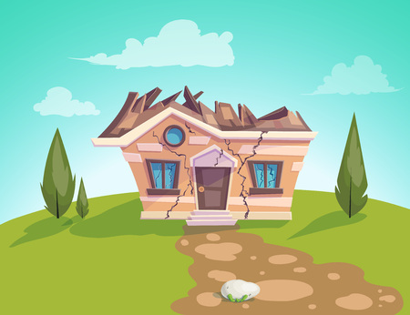 house destroyed facade Vector. Cracks in walls of home. Property insurance. Illustration of a cartoon country house in summer season Illustration