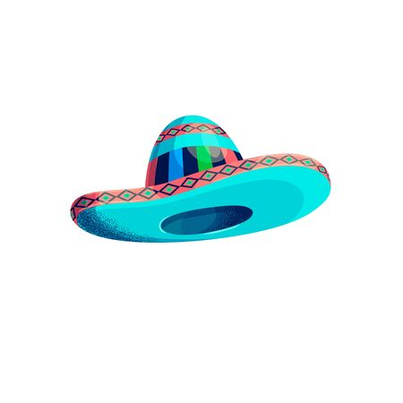Mexican hat Vector clipart illustration. Cinco de mayo funny festive accessory and wearing sombrero. Isolated objects on white background.