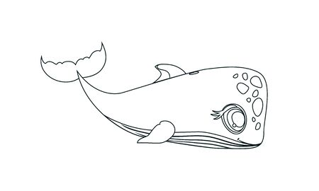 Cute Whale relaxing Coloring page for adult therapy vector Isolated on a white background. Hand drawn Whale illustration for antistress colouring book, t-shirt print, children poster sea animal