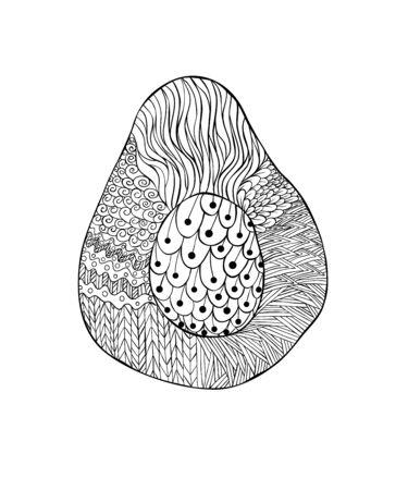 Line art avocado coloring page for banner design. Sketch style vector. Vegetarian nutrition. Organic ingredient Vegan, vegetarian. Hand drawn avocado coloring page for paper design. Hand drawing style