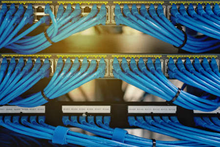 LAN Cable Wiring And Networking In The Network Or Server Rack ...