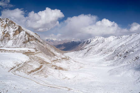 A view of snow mountain on the way from Leh to Pangong lake in Ladakh.