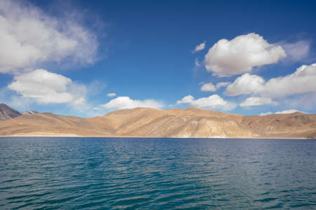 A view of Pangong Lake in Ladakh. Pangong lake or Pangong Tso It's one of the world's highest saltwater lakes. Stock fotó - 137180607