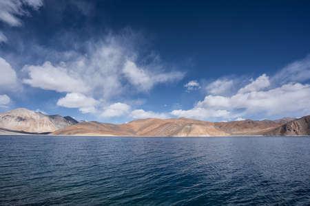 A view of Pangong Lake in Ladakh. Pangong lake or Pangong Tso It's one of the world's highest saltwater lakes.