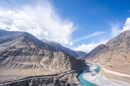 The view of Indus River in Leh, Ladakh, India. The Indus River is one of the longest rivers in Asia.