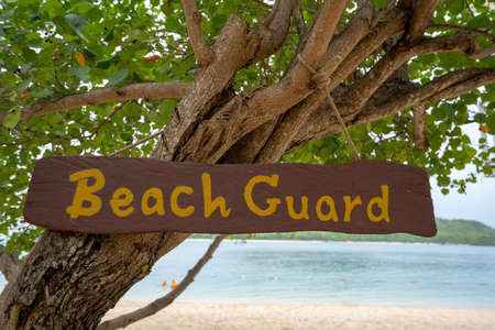 Beach guard on the tree and the sea in the background.