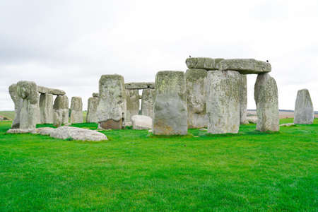 Stonehenge with Blue Sky in the background in England. Editorial