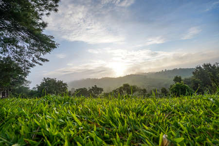 Mountain natural view in the morning time at Khao Kho, Thailand.