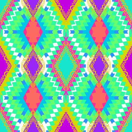 Checkered seamless pattern of bright neon shades. Modern background for your design in rich colors.