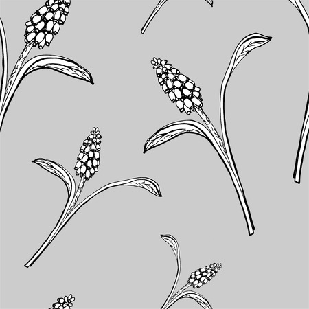 Seamless pattern with grasses Illustration