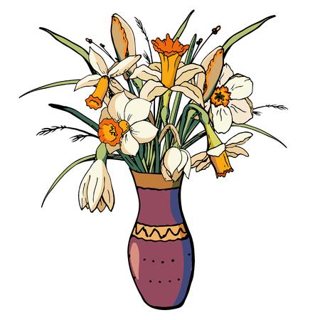 Vector floral illustration whit narcissus Vektoros illusztráció