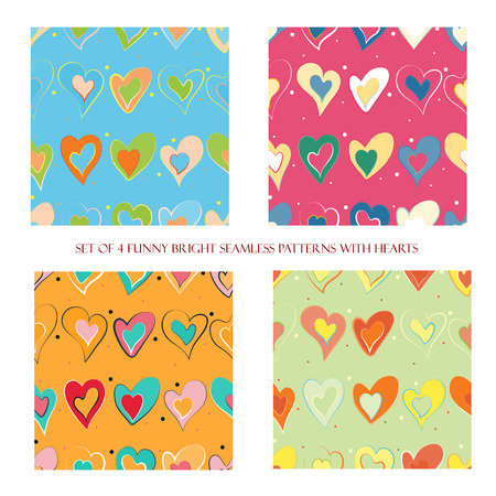 Set of 4 funny bright seamless patterns with hearts