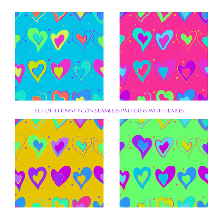 Set of 4 funny neon seamless patterns with hearts Ilustração