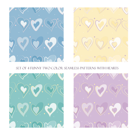 Set of 4 funny pastel two-color seamless patterns with hearts