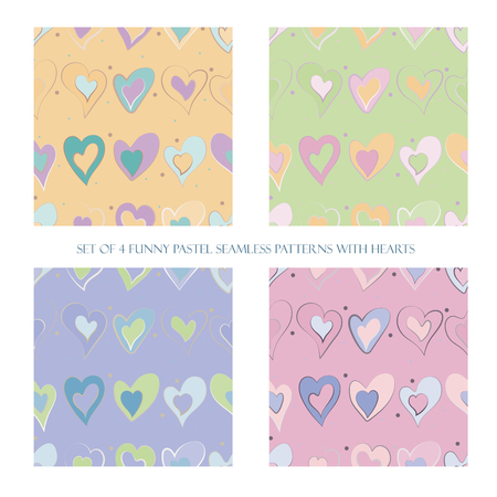 Set of 4 funny pastel seamless patterns with hearts