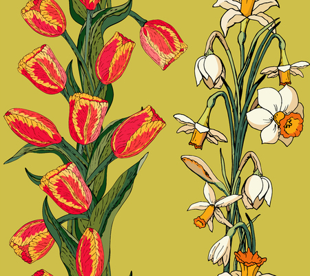 Vector floral seamless pattern with red tulips and daffodils (narcissus). Lime background