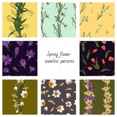 Collection of 8 vector seamless color patterns with spring flowers. Textures with tulips, crocuses, snowdrops and daffodils (narcissus) Çizim