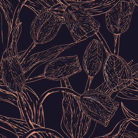 Vector monochrome floral seamless pattern whit tulip. Pink golden flowers on a dark violet background