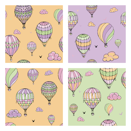 Set of vector seamless pattern with balloons in pastel colors. Many differently colored striped air balloons flying in the clouded sky. Clouds and birds soaring in the sky. Travel and vacation.