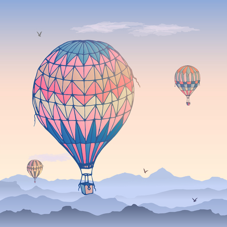Balloons vector card. Some differently colored striped air balloons flying in the clouded morning sky. Patterns of clouds and birds soaring in the sky. Travel and vacation.  Illustration