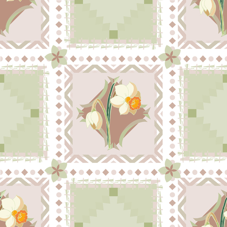 Checkered seamless pattern of gentle pastel shades with narcissus flowers. Elegant background for your design in soft colors with floral elements. Illustration