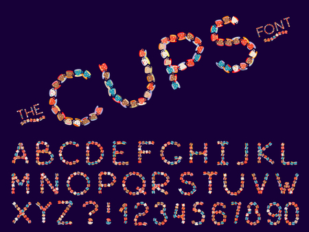 Set of vector modern abstract font and alphabet. Typography cups style multicolored font set for logo, poster, invitation or clothing design.