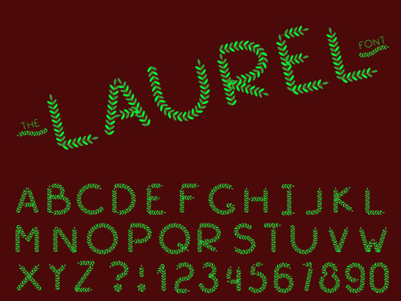 Set of vector modern abstract font and alphabet. Typography laurel style green font set for logo, poster, invitation or clothing design. Illustration