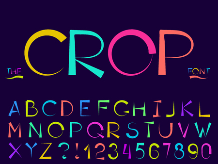Set of vector modern abstract font and alphabet. Typography crop style neon font set for logo, poster, invitation or clothing design.
